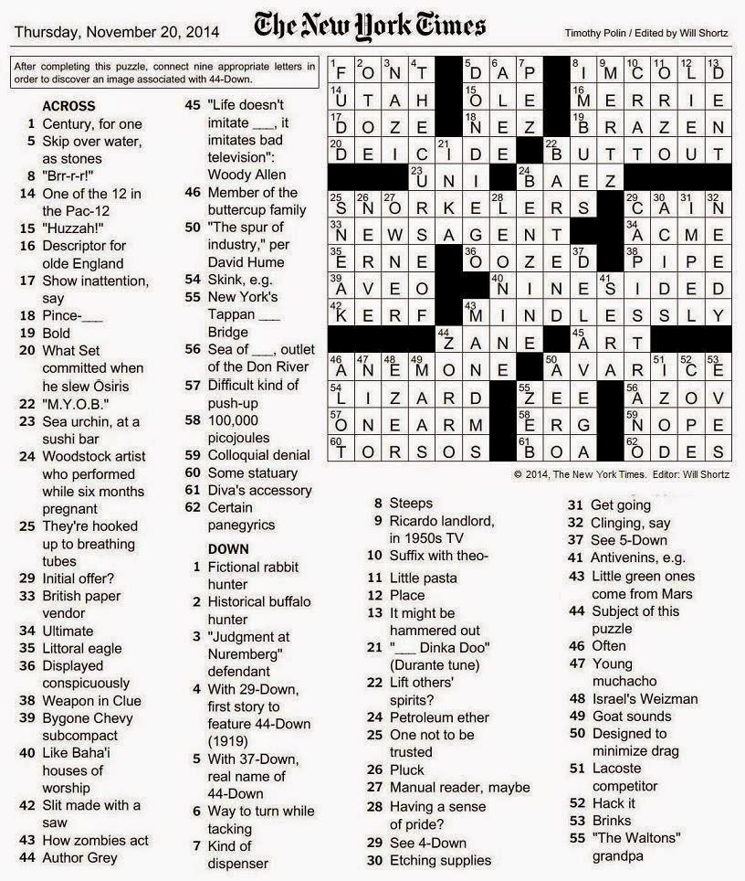 The New York Times Crossword In Gothic: November 2014 - La Times Printable Crossword 2014