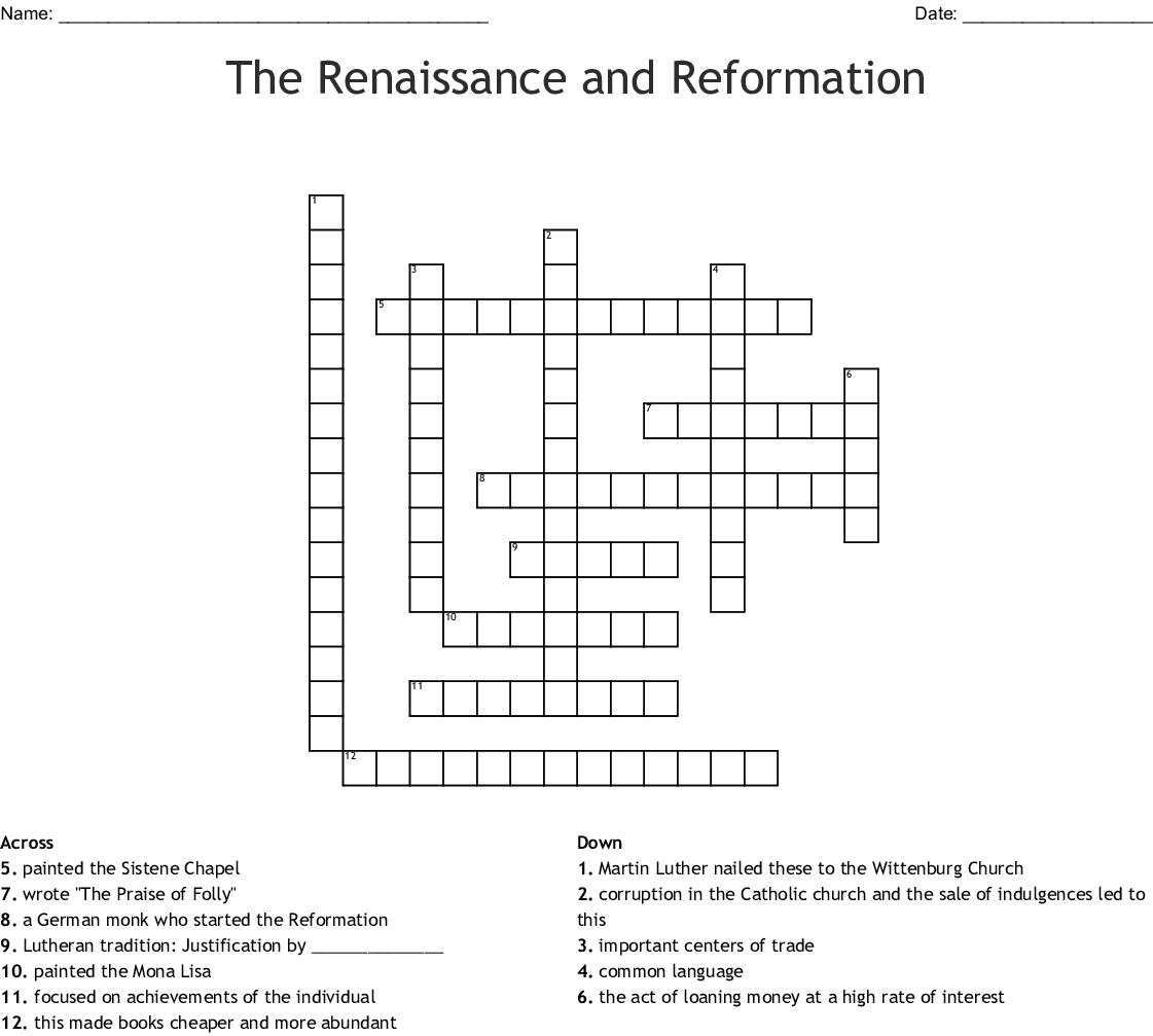The Renaissance And Reformation Crossword - Wordmint - Renaissance Crossword Puzzle Printable