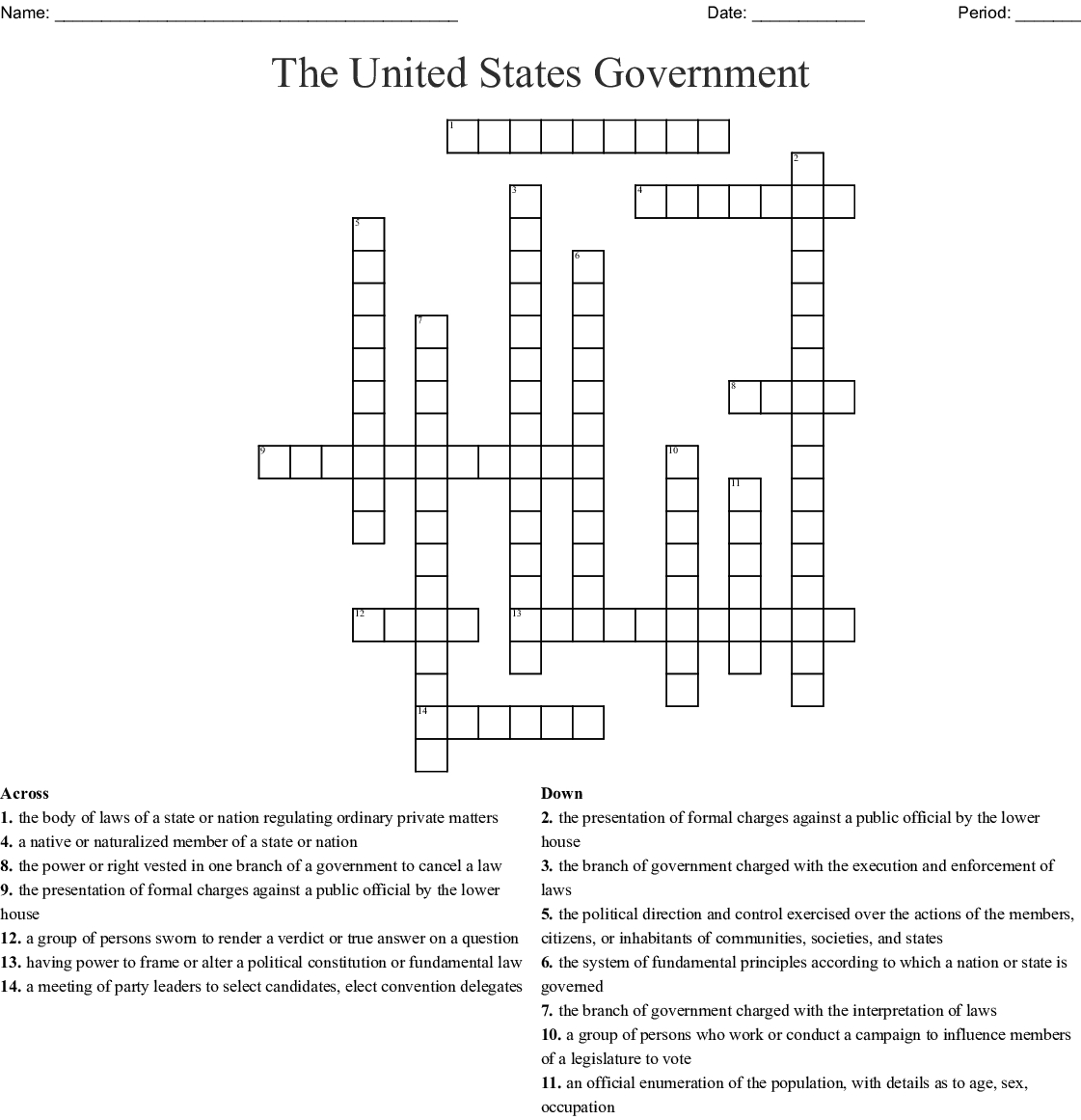 The United States Government Crossword - Wordmint - Printable United States Crossword Puzzle