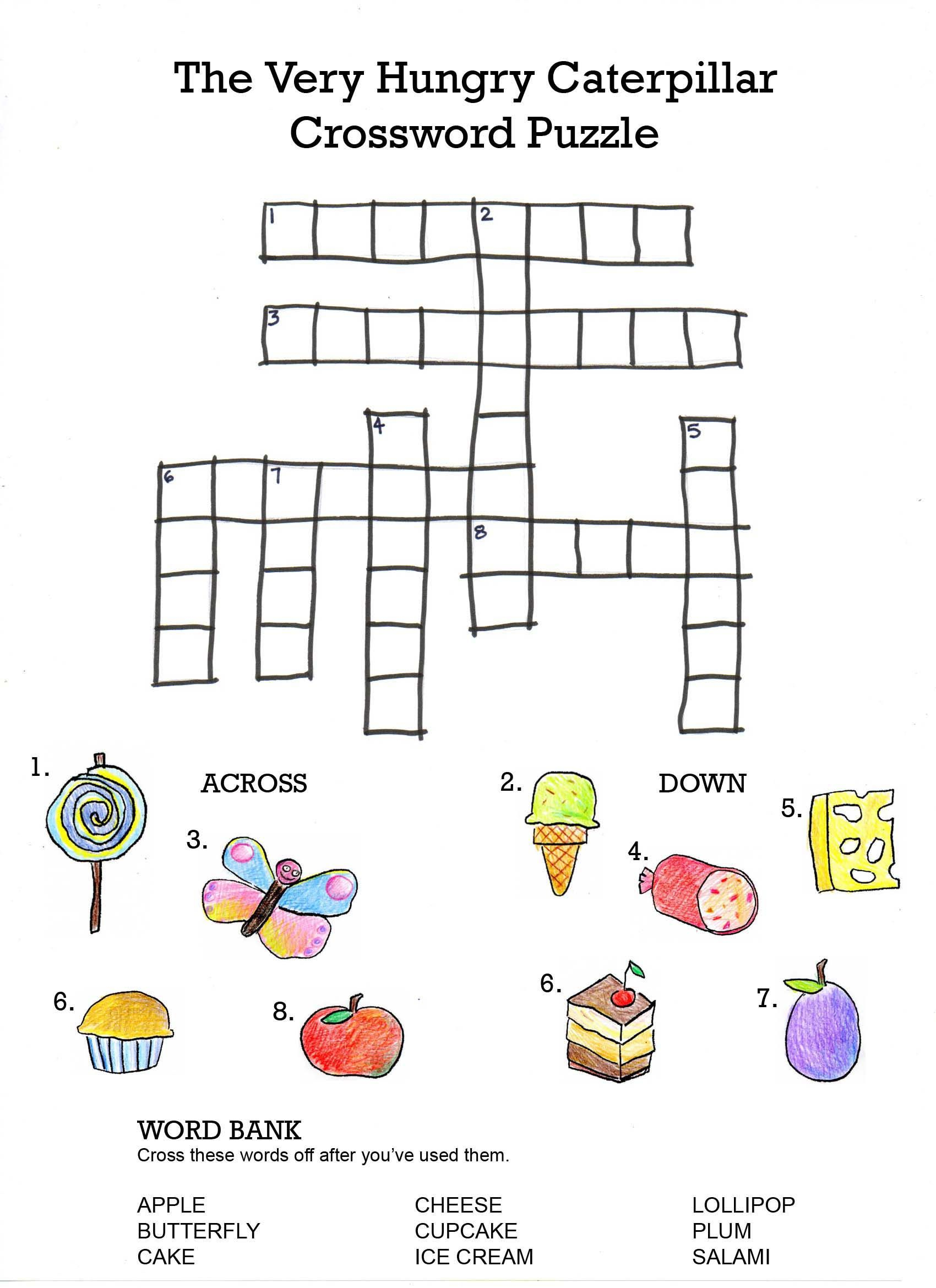 The Very Hungry Caterpillar Crossword | Projects To Try | Hungry - Printable Italian Crossword Puzzles