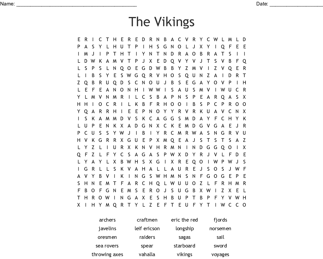 The Vikings Word Search - Wordmint - Printable Viking Crosswords