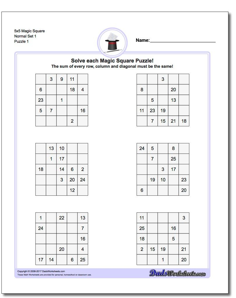 This Page Has 3X3, 4X4 And 5X5 Magic Square Worksheets That Will Get - Printable Sudoku Puzzles 3X3