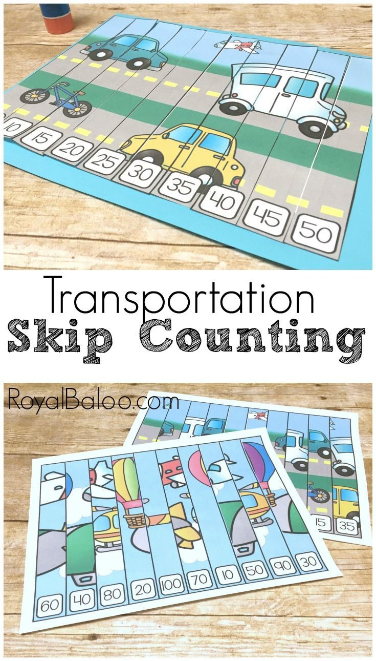 Transportation Skip Counting Puzzles For Hands On Math | Free - Printable Transportation Puzzles
