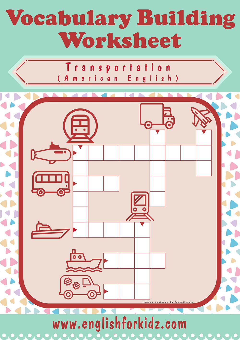 Transportation Worksheets: Crossword Puzzles - Printable Transportation Puzzles