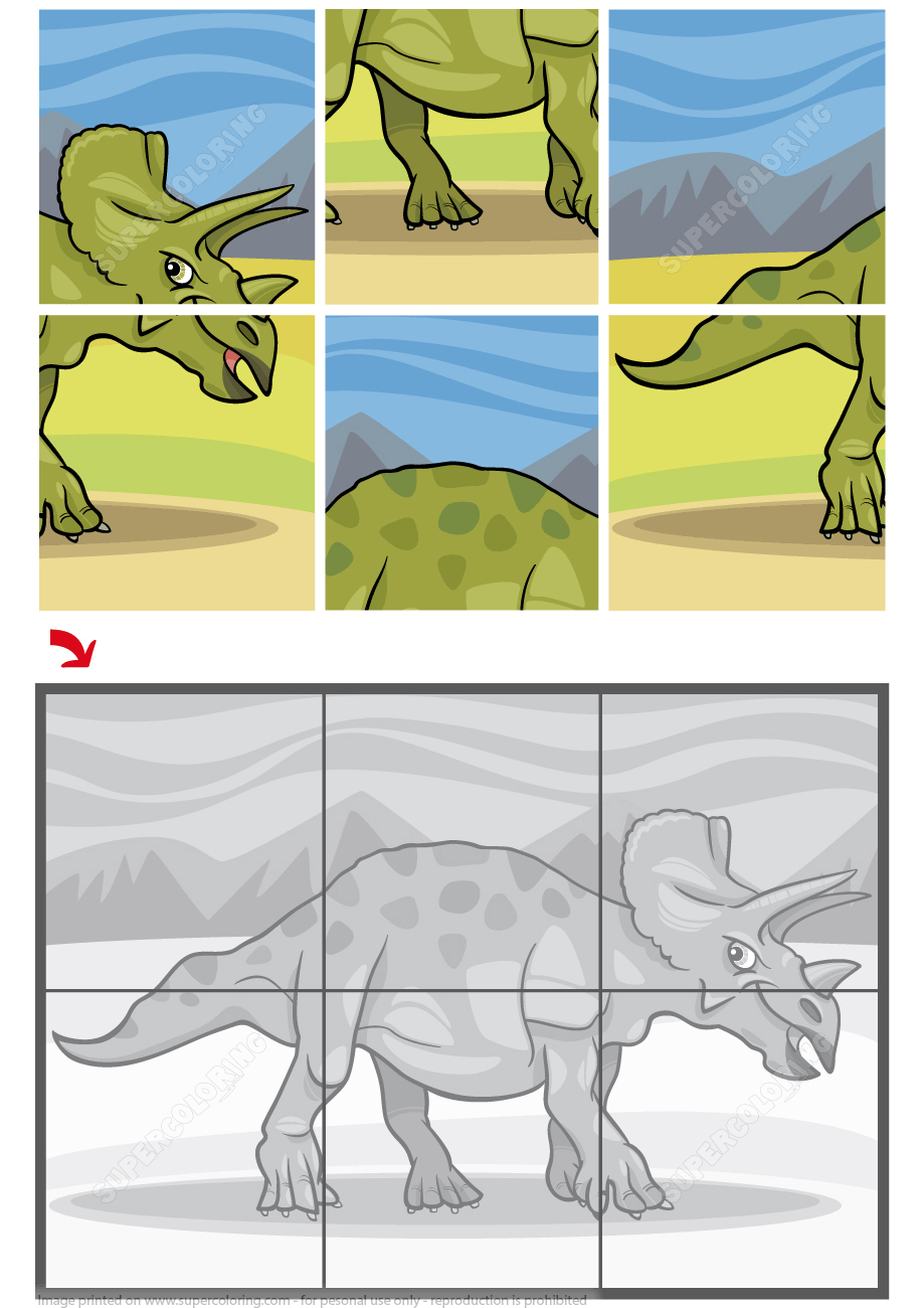 Triceratops Dinosaur Jigsaw Puzzle | Free Printable Puzzle Games - Printable Dinosaur Puzzles