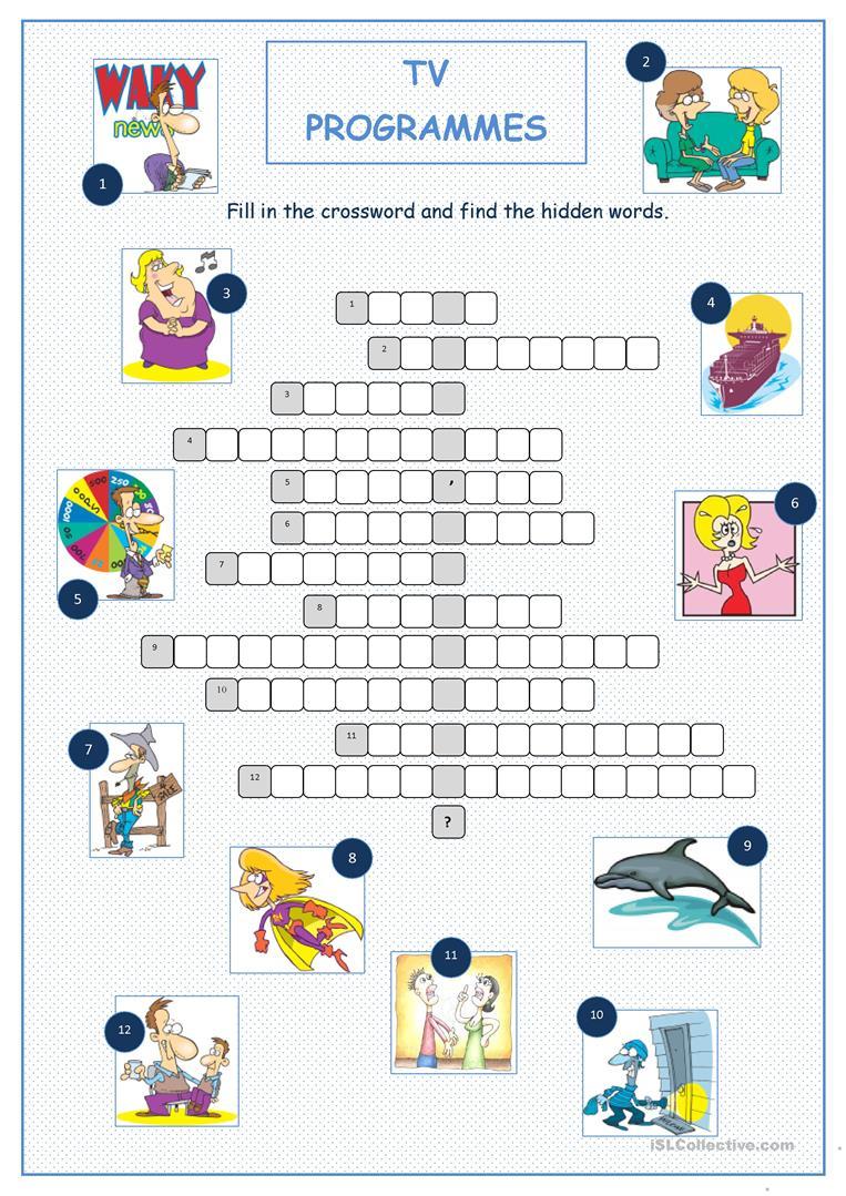 Tv Programmes Crossword Puzzle Worksheet - Free Esl Printable - Tv Show Crossword Puzzles Printable