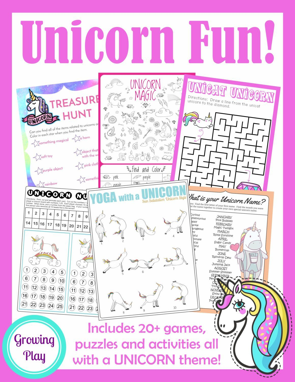 Unicorn Birthday Games Activities Puzzles | Puzzles | Unicorn - Printable Unicorn Puzzles