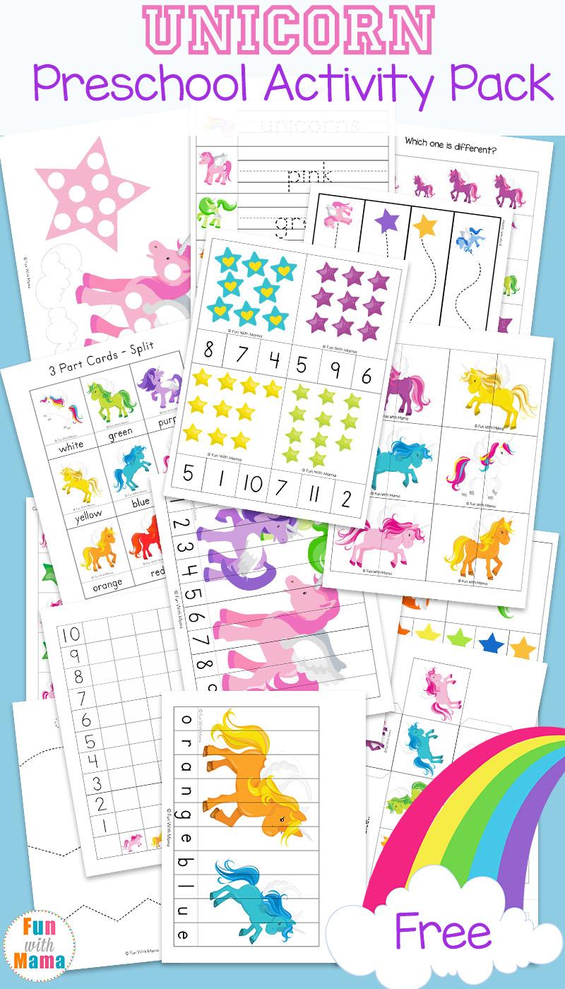 Unicorn Preschool Activity Pack - Fun With Mama - Printable Unicorn Puzzle