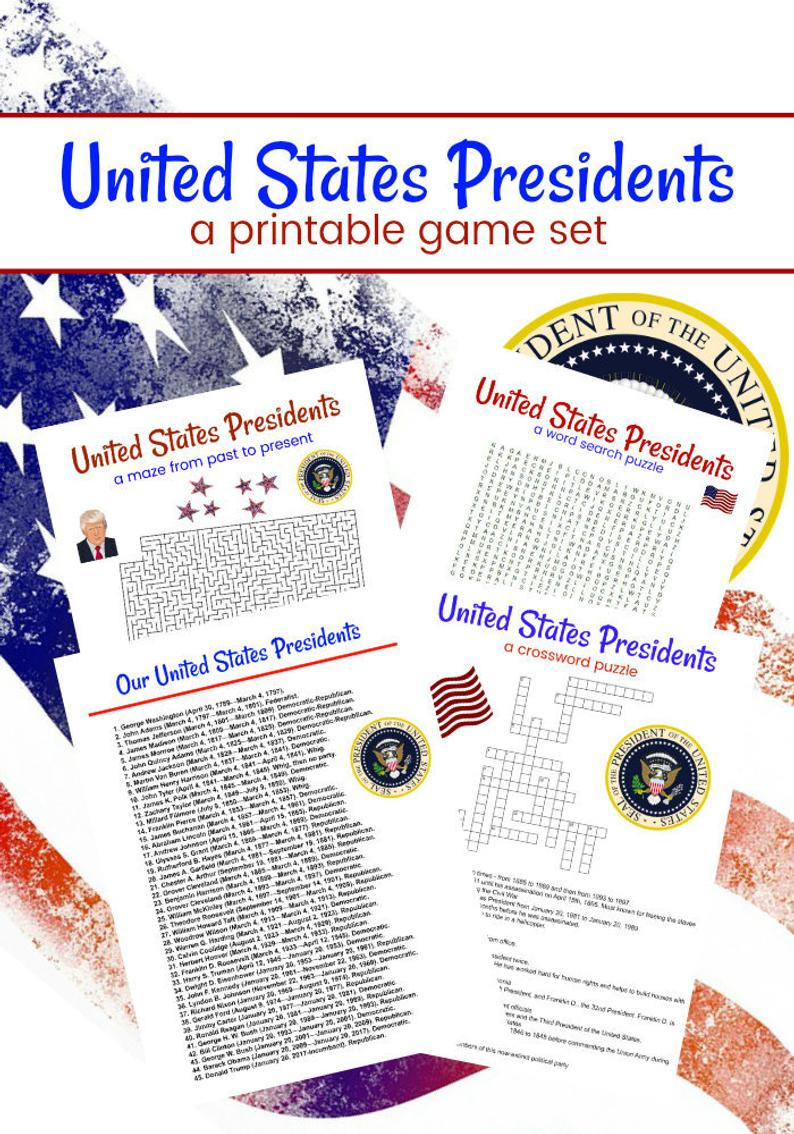 United States Presidents Printable Game Set Of 4 Crossword | Etsy - Us Presidents Crossword Puzzle Printable