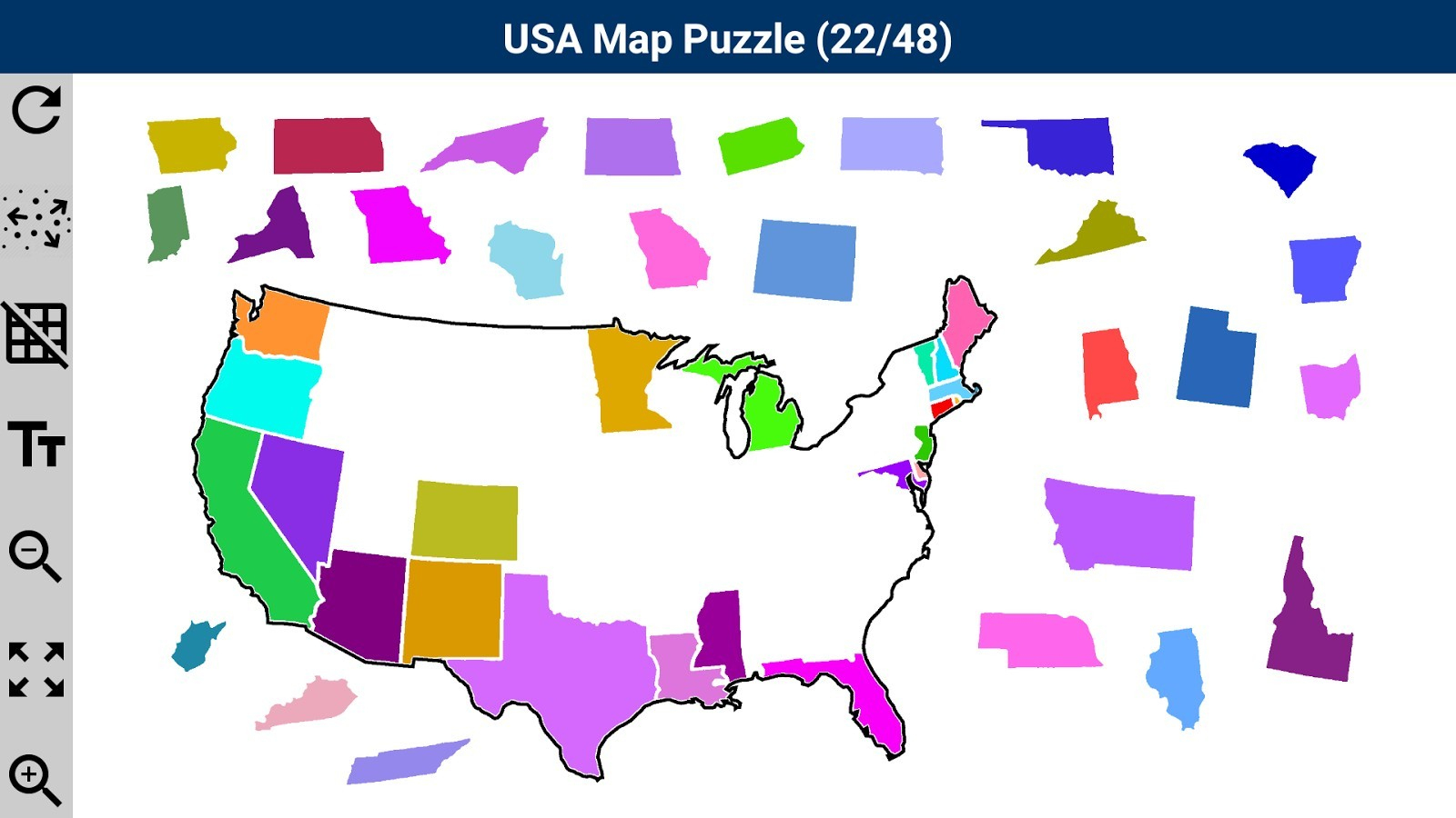 Us State Map Puzzle Web Game Usa Android Apps On Google Play At - Printable Puzzle Map Of The United States