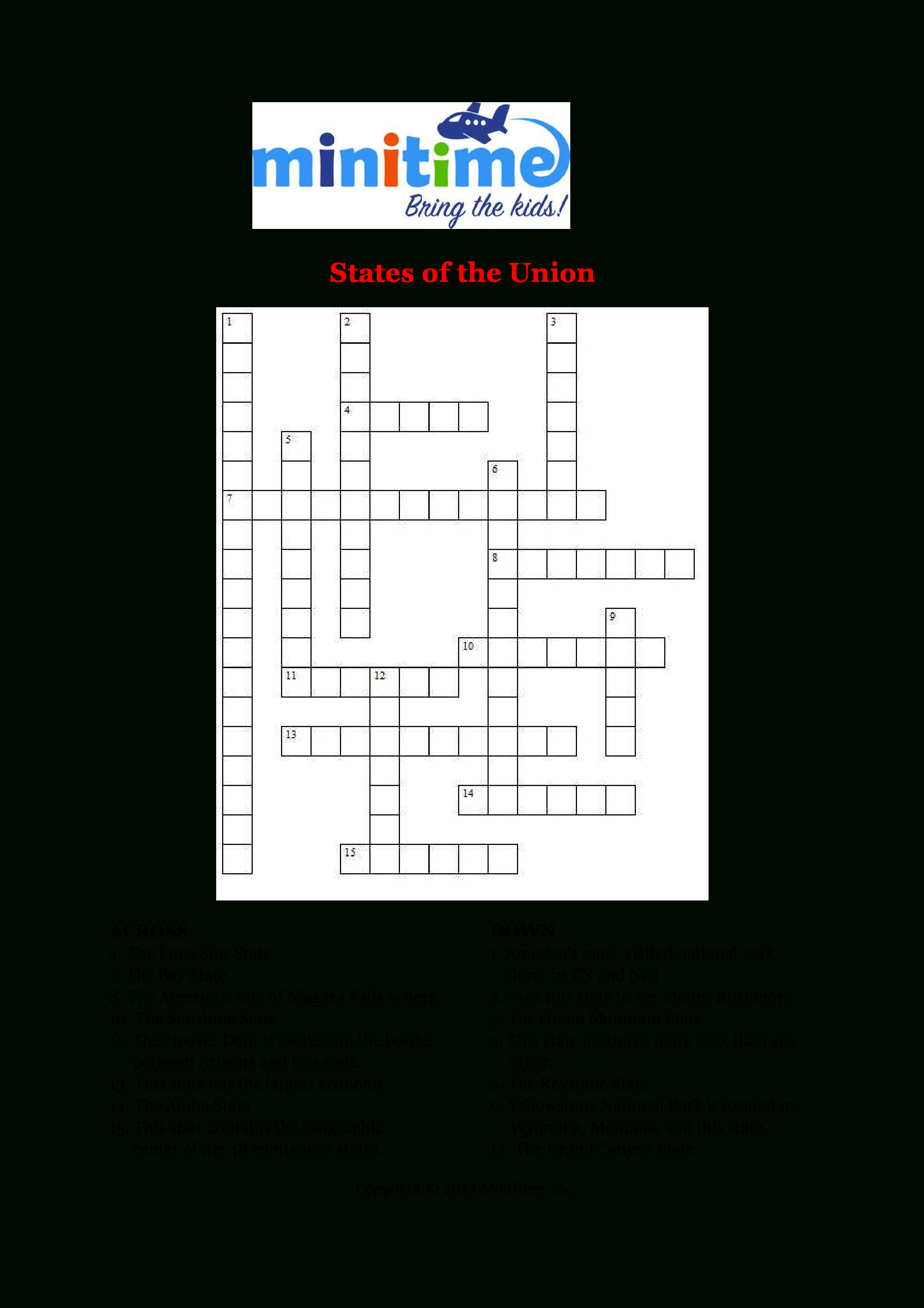 Us States Fun Facts Crossword Puzzles | Free Printable Travel - Car Crossword Puzzles Printable