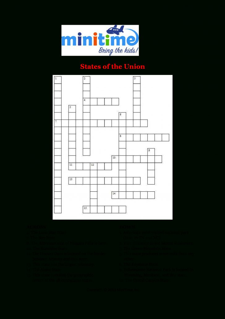 Printable United States Crossword Puzzle