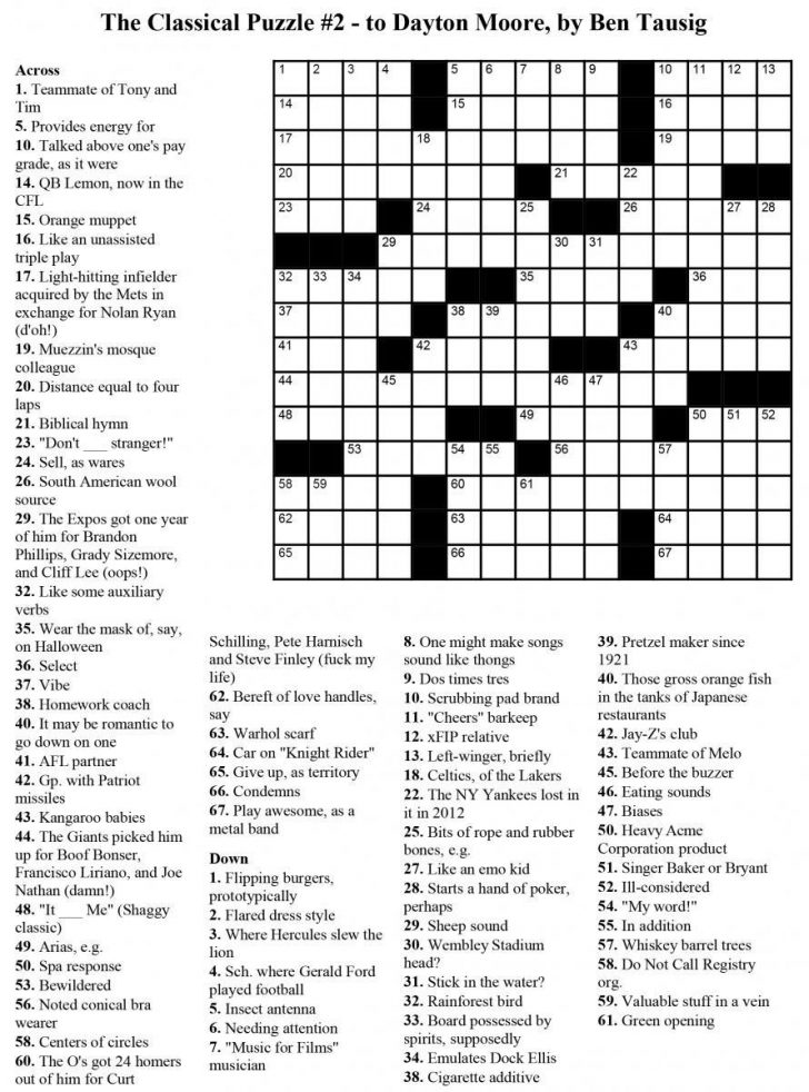Printable Usa Crossword Puzzles