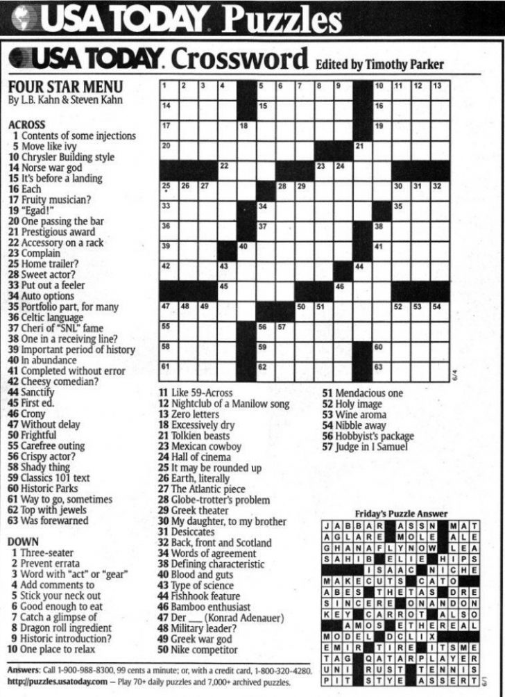Usa Today Crossword Puzzle Printable