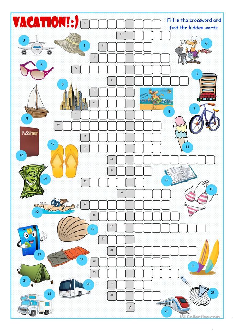 Vacation Crossword Puzzle Worksheet - Free Esl Printable Worksheets - Printable Holiday Crossword