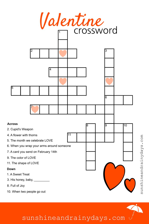 Valentine Crossword Puzzle   Valentine Printables   Crossword, Kids - Printable Valentine Crossword Puzzle