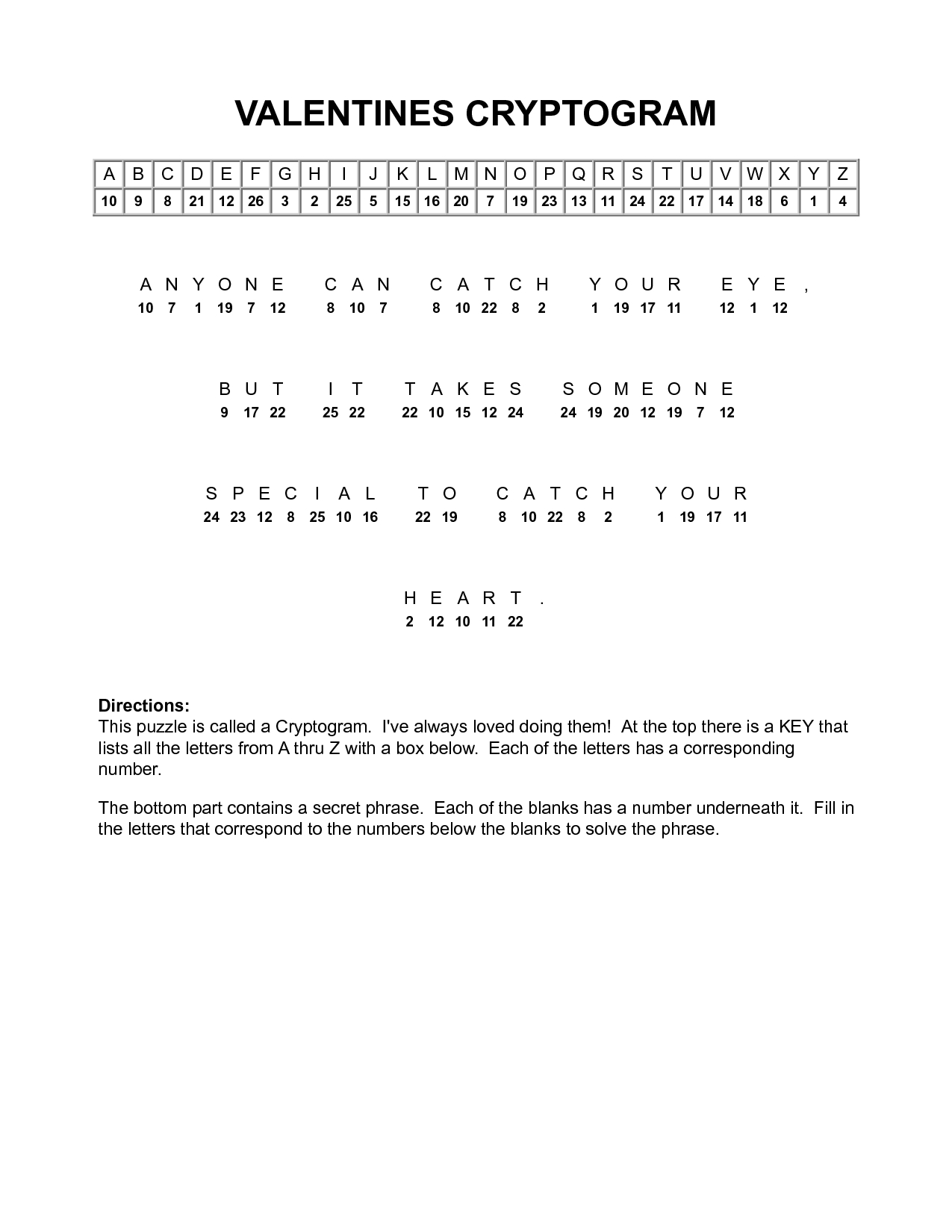 Valentine Cryptograms To Print | Valentines Cryptogram | Puzzles - Printable Puzzles Cryptograms