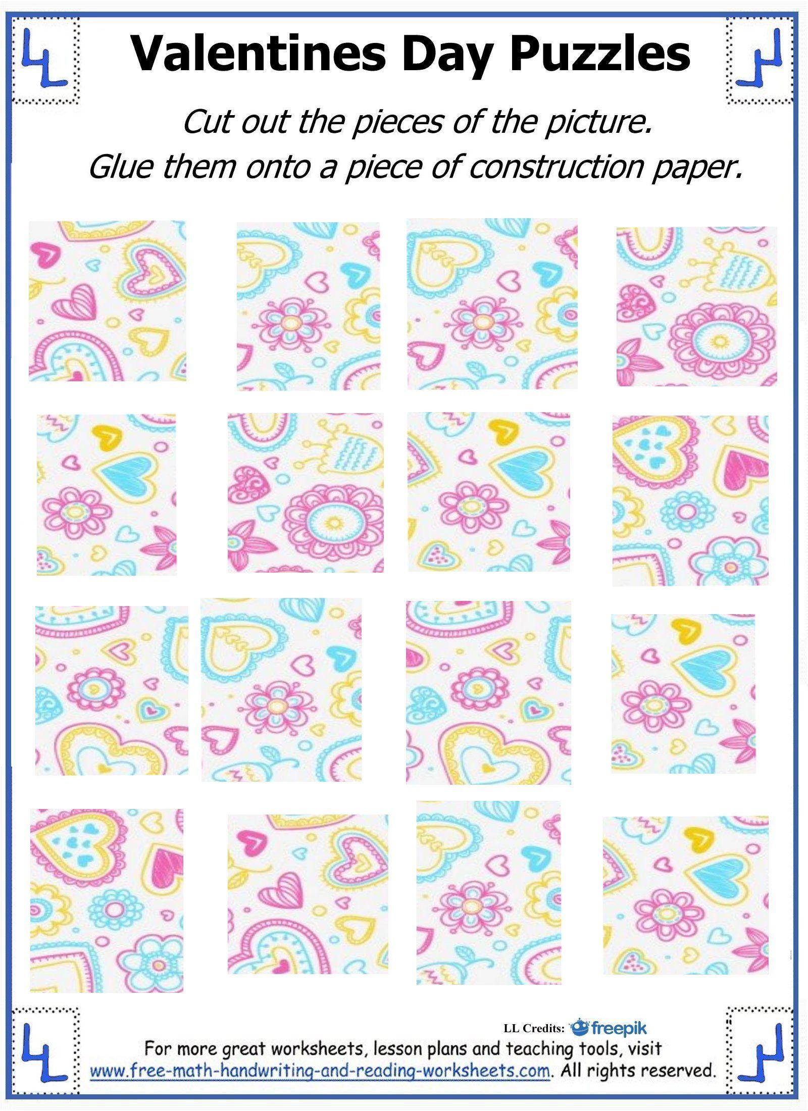 Valentine Day Puzzles - Printable Cut & Paste Puzzles | Valentine - Printable Valentine Puzzles
