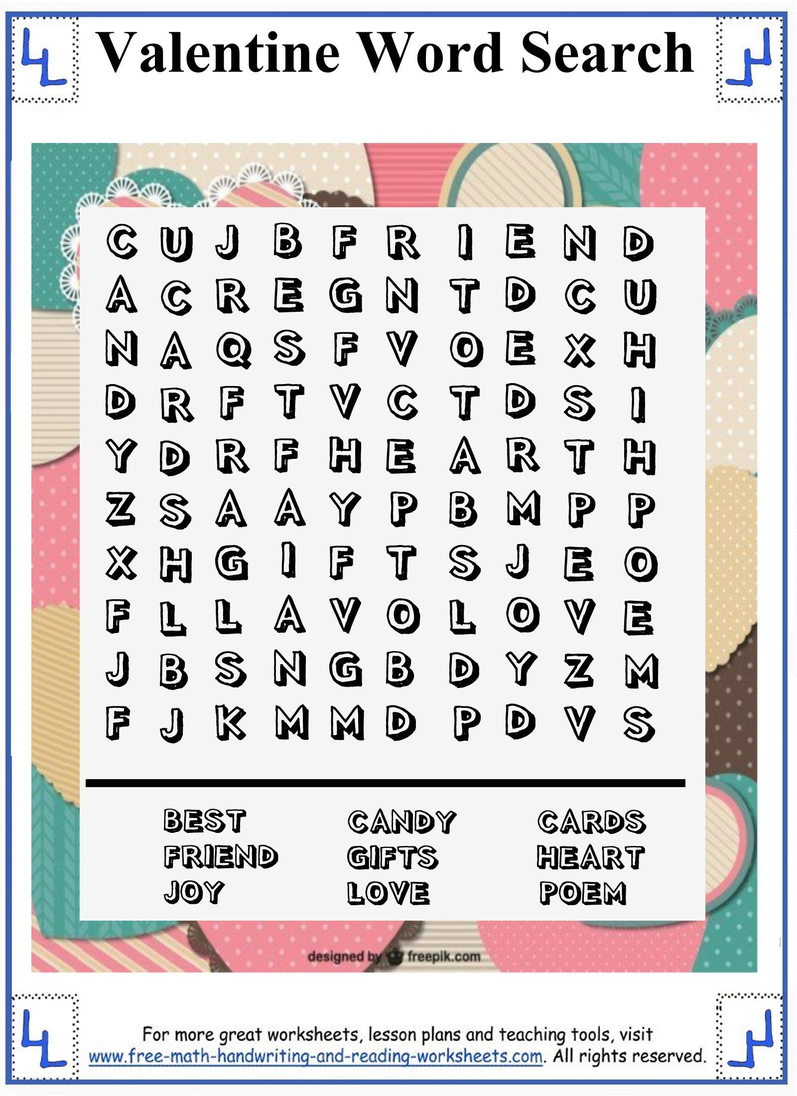Valentine Word Search - Printable Puzzles - 10X10 Wordsearch Grid - Printable Valentine Puzzles For Adults