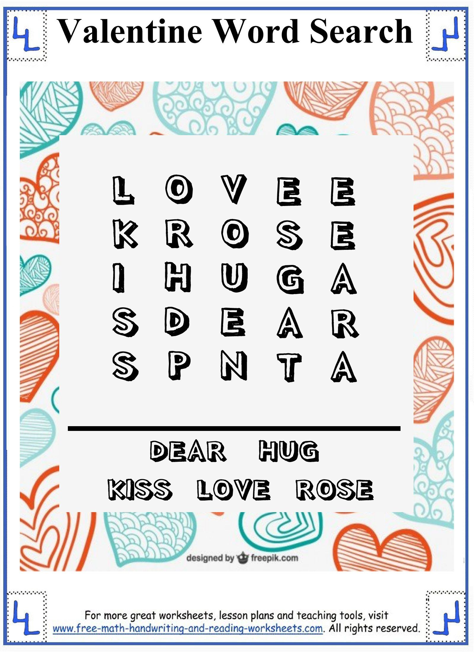 Valentine Word Search - Printable Puzzles - Easy 5X5 Grid For - Printable Puzzles For First Grade