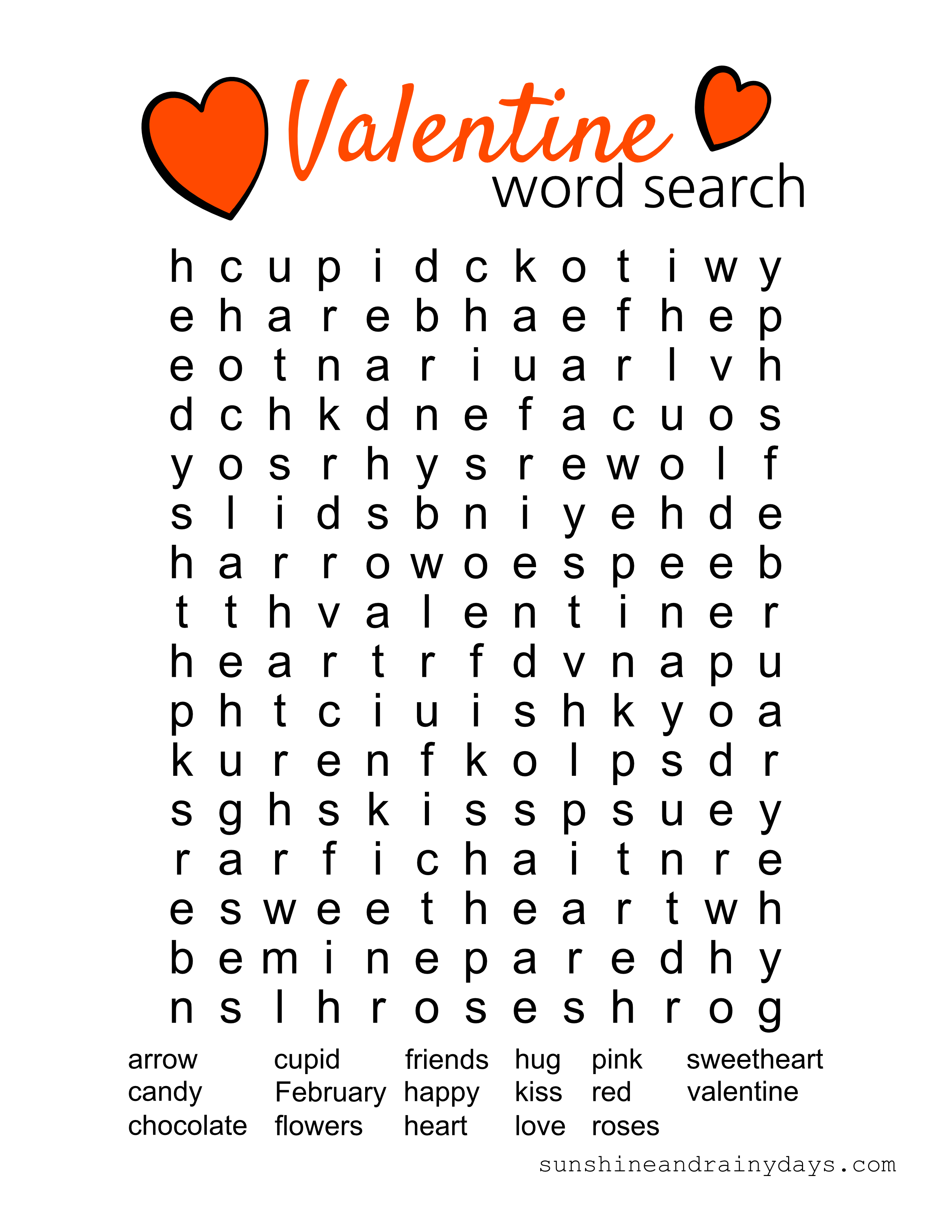 Valentine Word Search Printable - Sunshine And Rainy Days - Free Printable Valentines Crossword