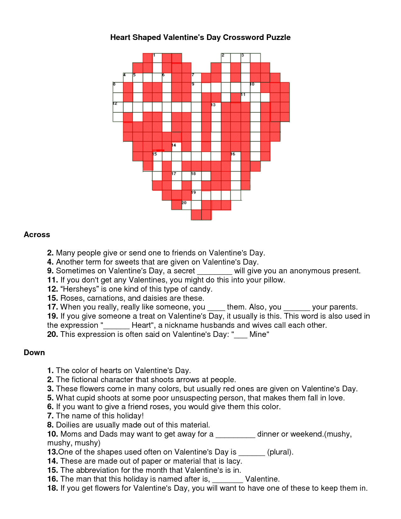 Valentines Day Crossword Puzzle   Will You Be My Valentine - Printable Valentine Crossword Puzzle