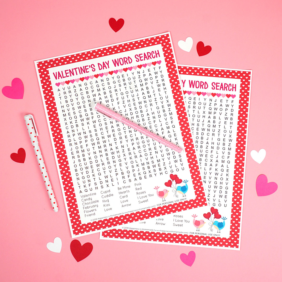 Valentine's Day Word Search Printable - Happiness Is Homemade - Free Printable Valentine Puzzles For Adults
