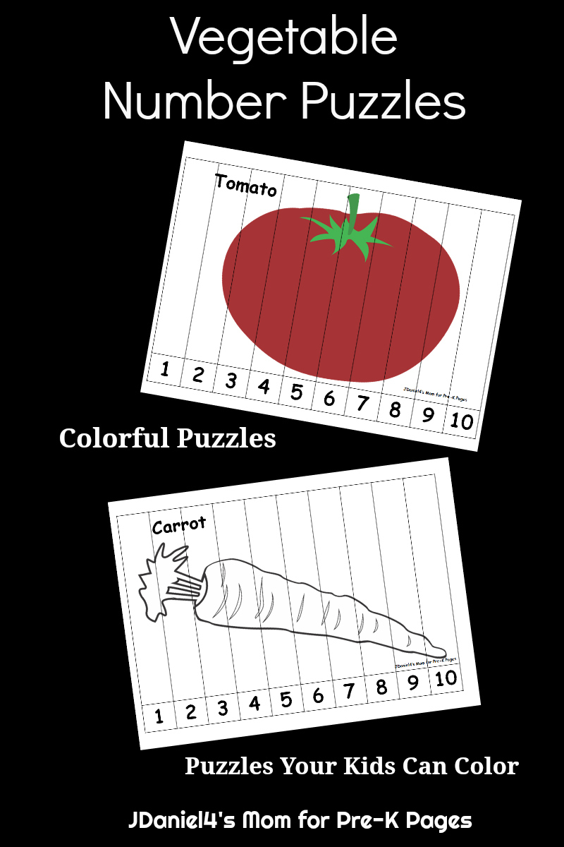 Vegetable Number Puzzles For Kids - Pre-K Pages - Printable Number Puzzles For Preschoolers