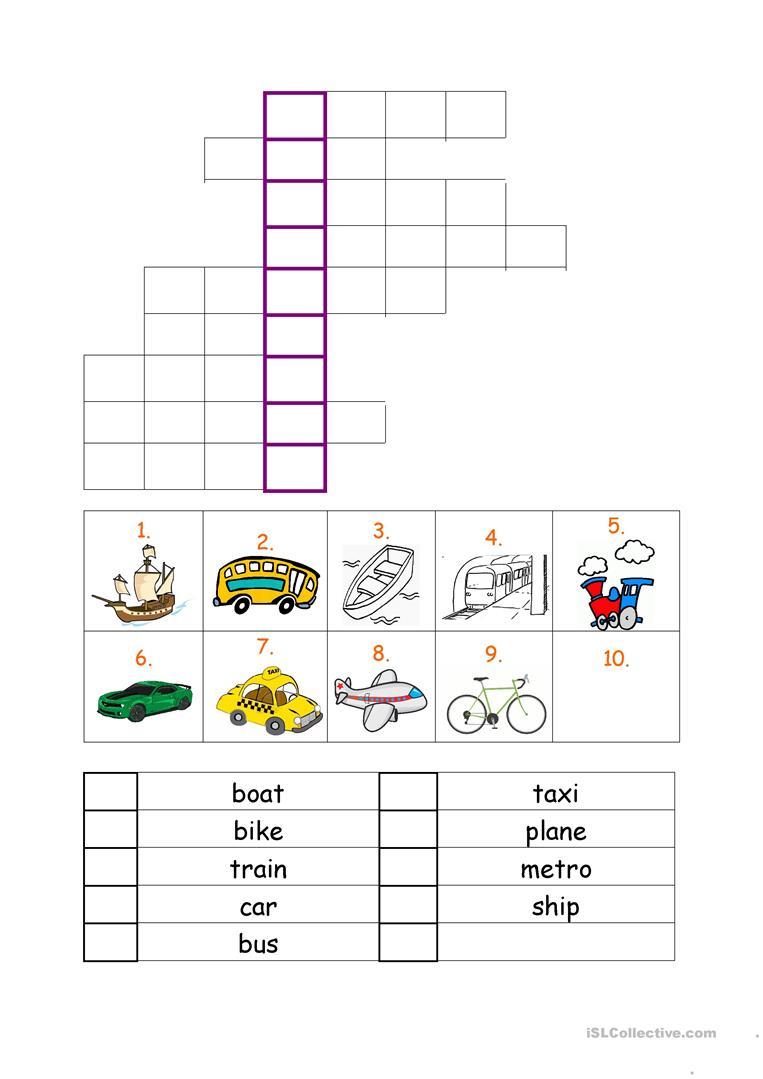 Vehicles Worksheet Worksheet - Free Esl Printable Worksheets Made - Printable Crossword Metro