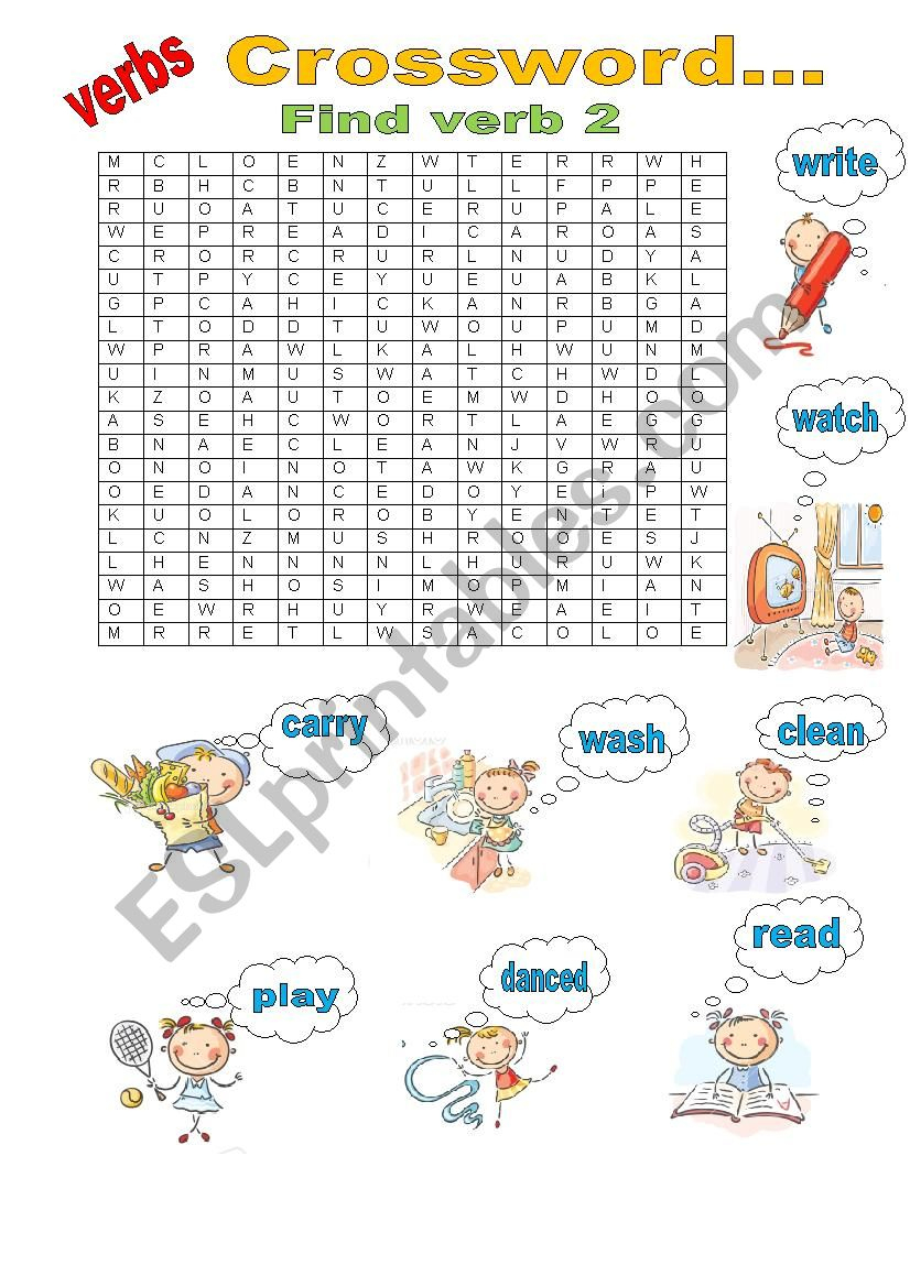 Verb Puzzle - Esl Worksheetgulaysa - Worksheet Verb Puzzle