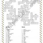 Verbs Crossword Puzzle   Esl Worksheetdiamicar   Verbs Crossword Puzzle Printable