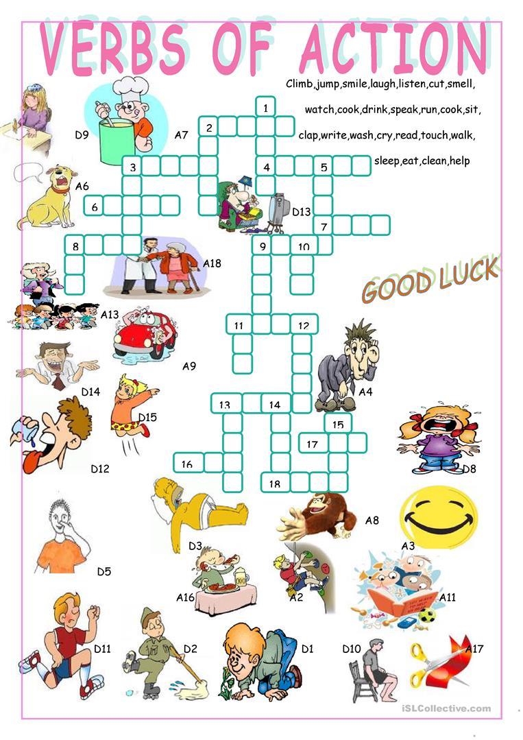 Verbs Of Action//crossword Puzzle Worksheet - Free Esl Printable - Verbs Crossword Puzzle Printable