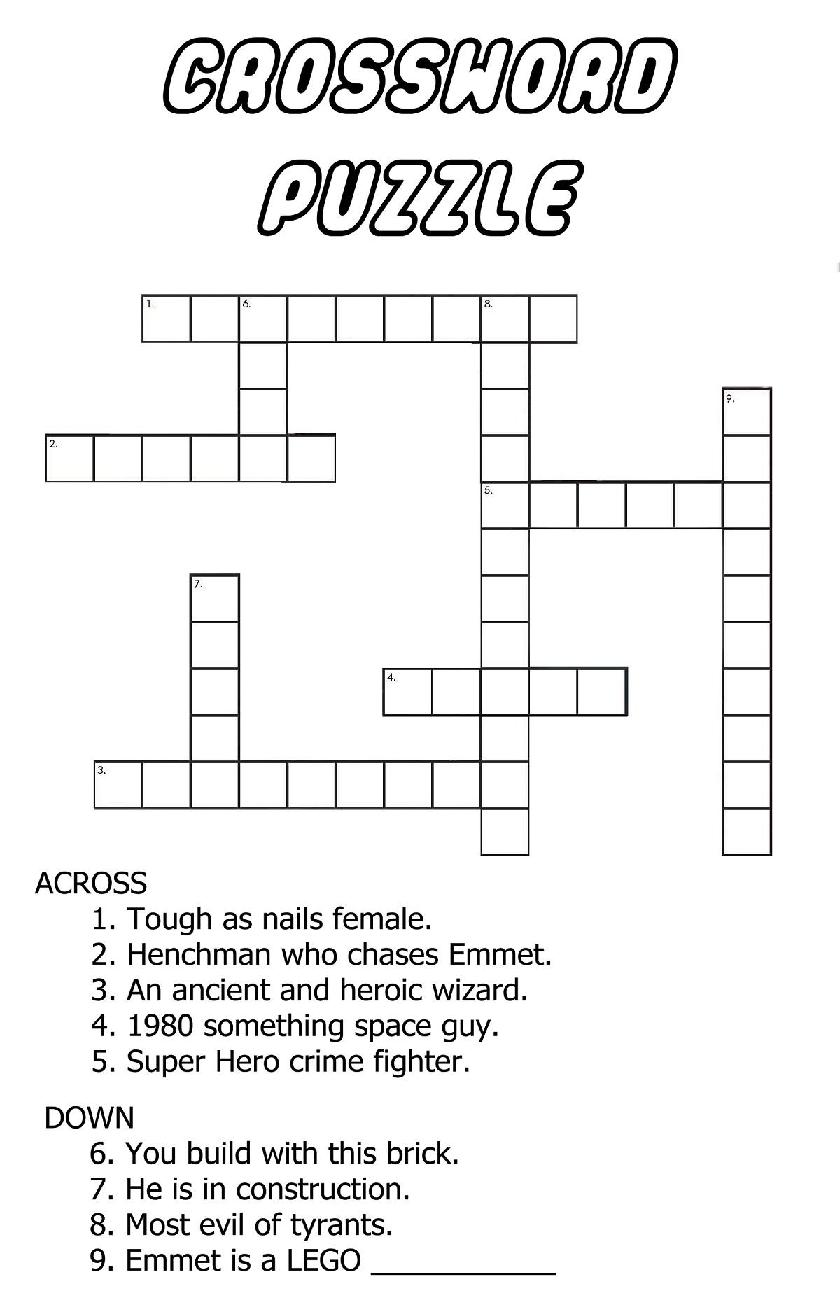 Very Easy Crossword Puzzles Fun | Kiddo Shelter - Very Easy Crossword Puzzles Printable