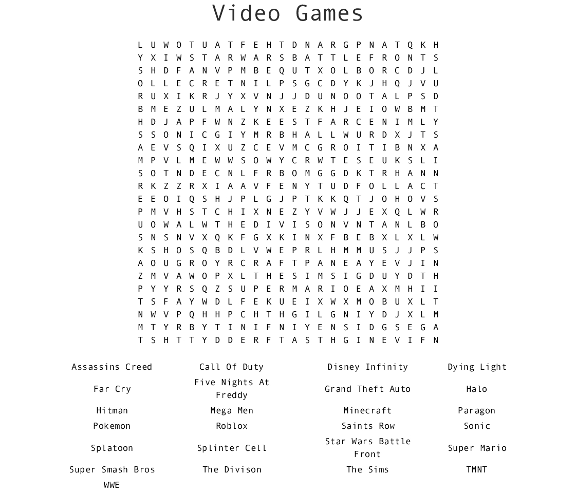 Video Games Word Search - Wordmint - Printable Crossword Puzzles Video Games