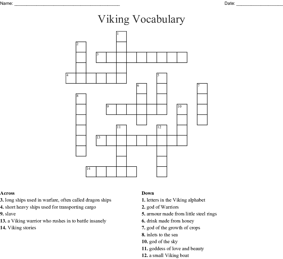 Vikings Letters Crossword - Printable Viking Crosswords