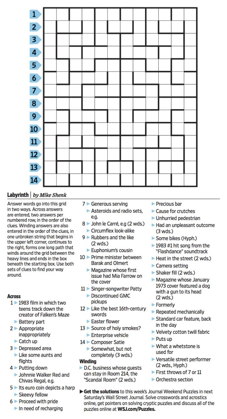 Wall Street Journal Crossword Puzzle Printable