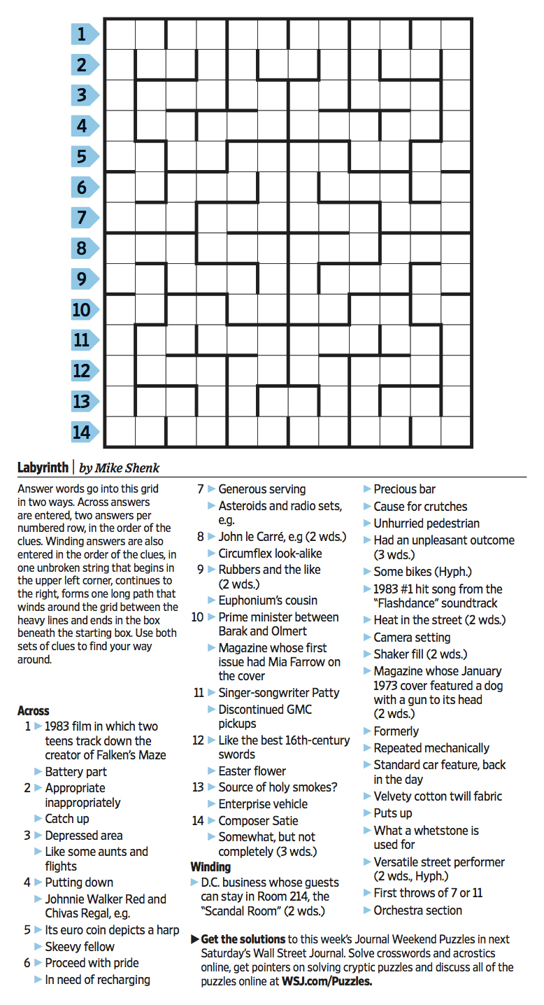 Wall Street Journal Crossword Contest - Journal Foto And Wallpaper - Wall Street Journal Crossword Puzzle Printable