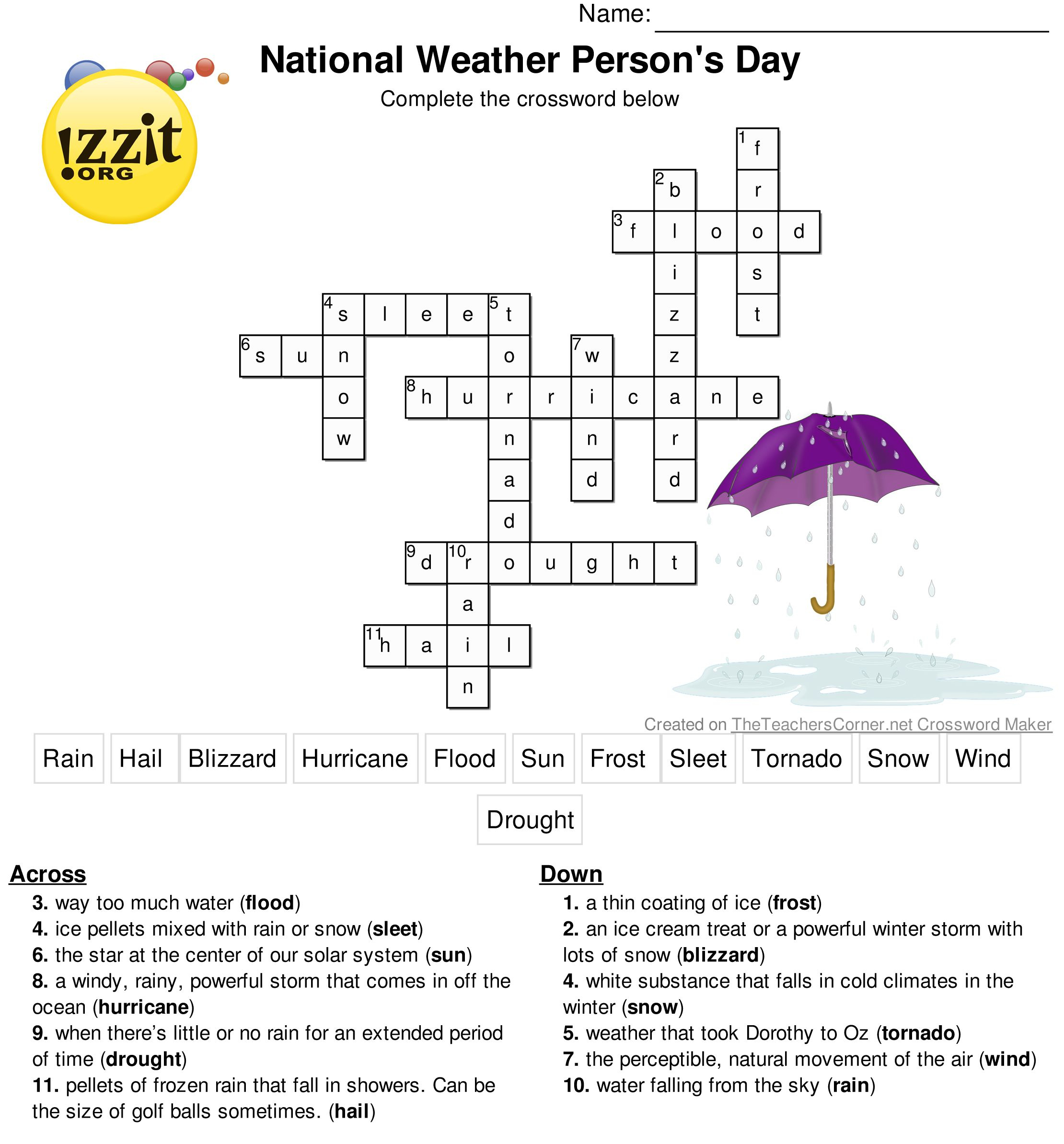 Weather Crossword Puzzle Answer Key - Printable Weather Crossword Puzzle