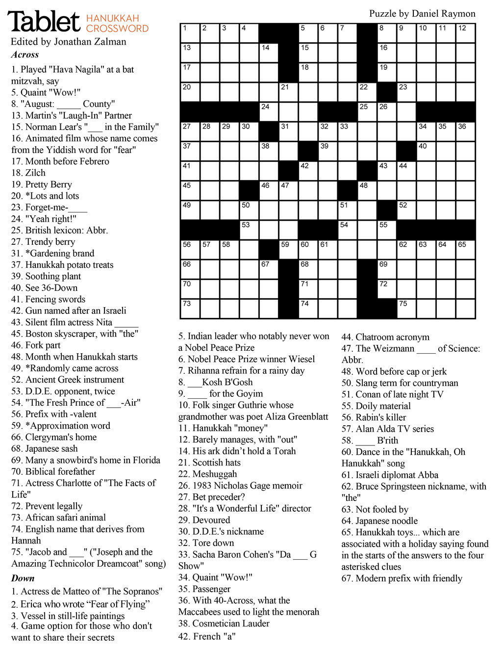 Wind Down With Our Hanukkah Crossword Puzzle! – Tablet Magazine - Reading Crossword Puzzles Printable