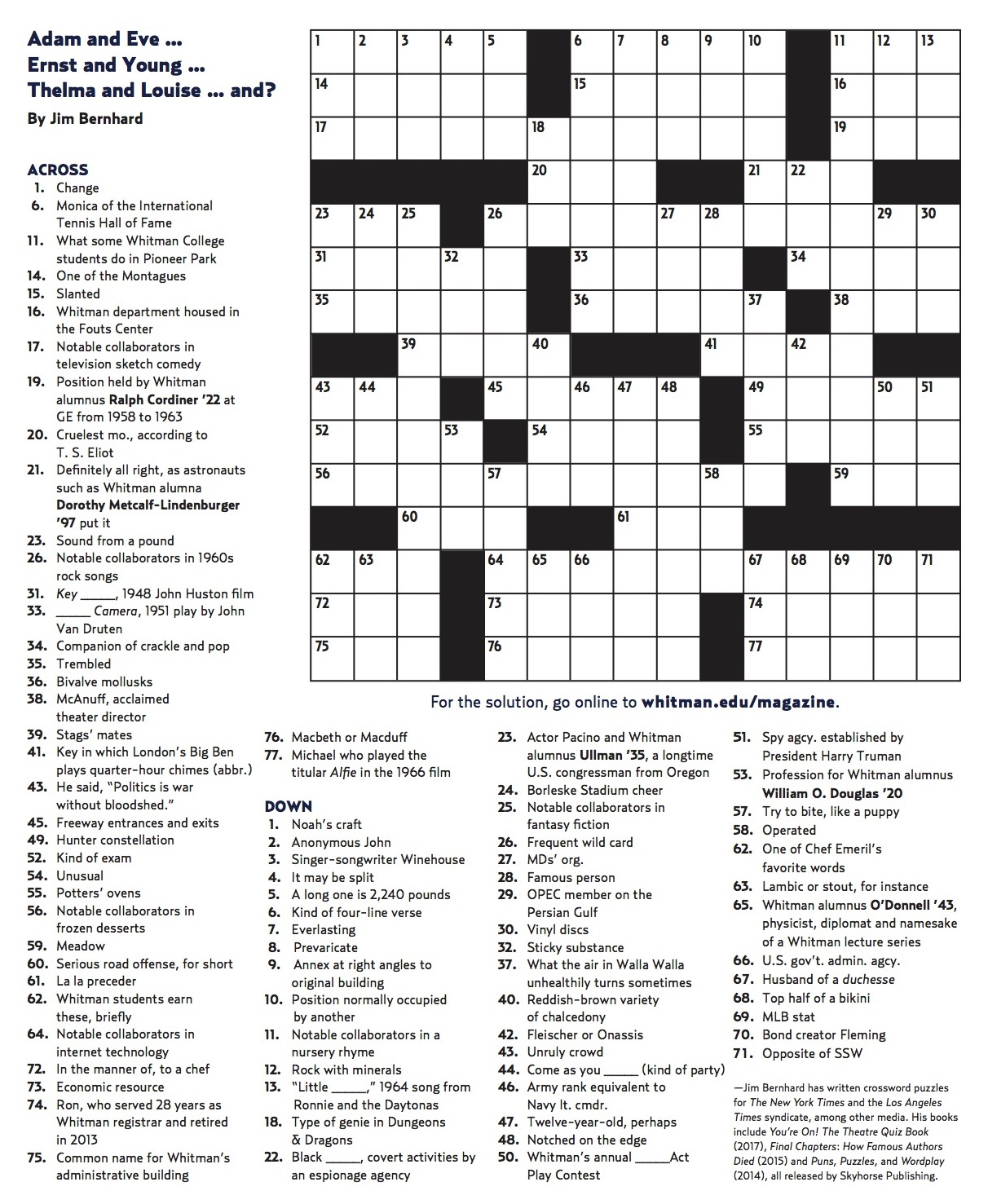 Winter 2018 Crossword   Whitman College - Printable Crossword 2018