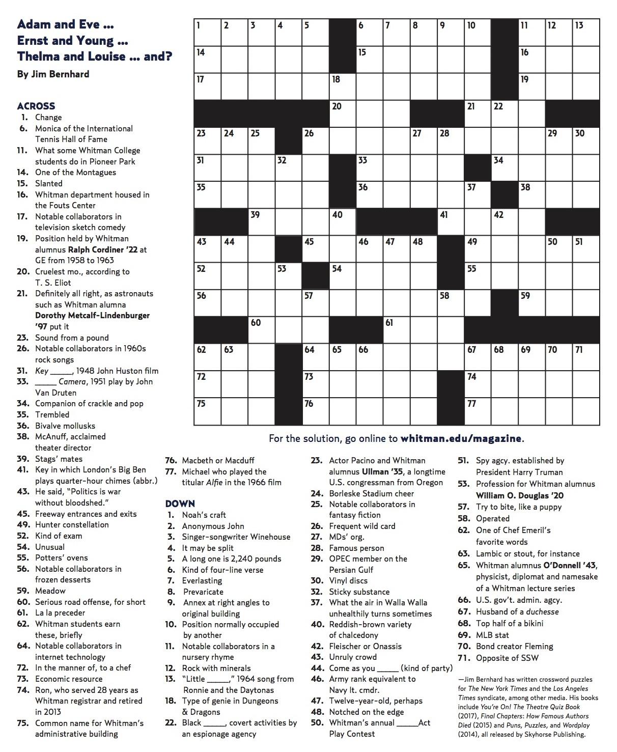 Winter 2018 Crossword   Whitman College - Printable Crossword Puzzle Pdf