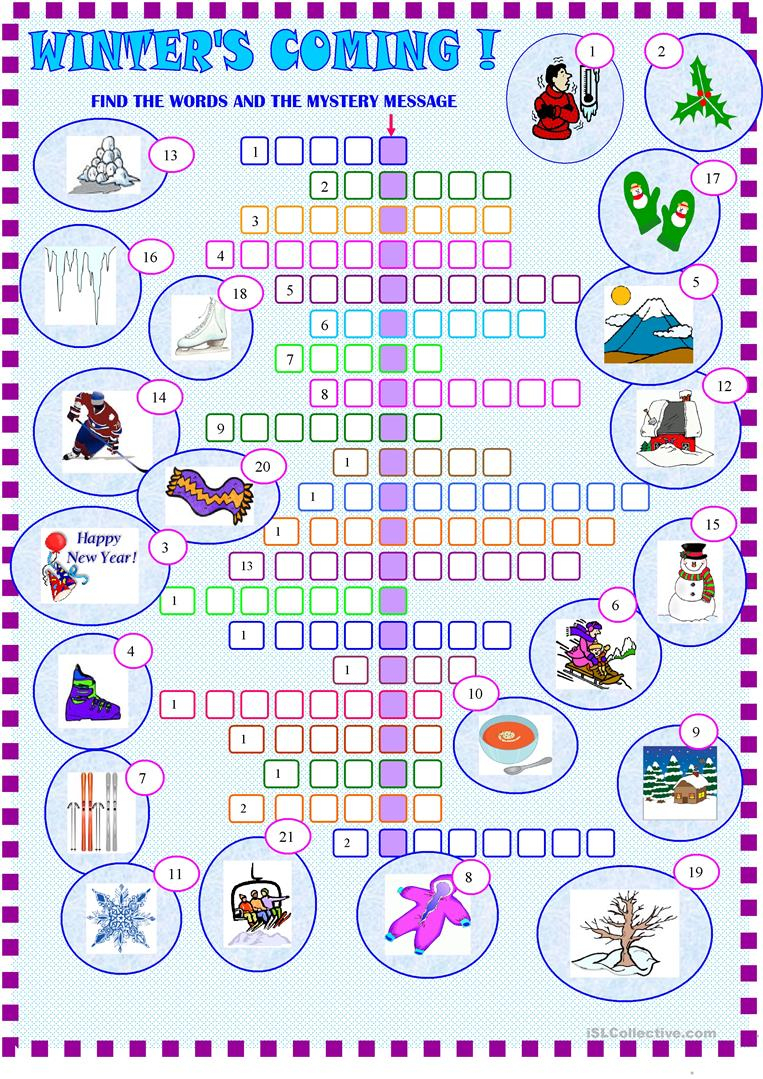 Winter : Crossword Puzzle With Key Worksheet - Free Esl Printable - Printable Crossword Puzzles Winter