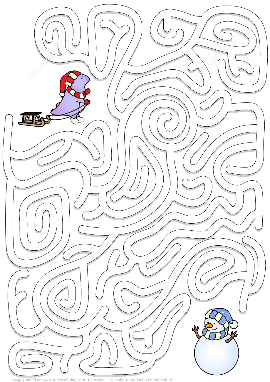 Winter Maze Puzzle | Free Printable Puzzle Games - Printable Puzzle Mazes