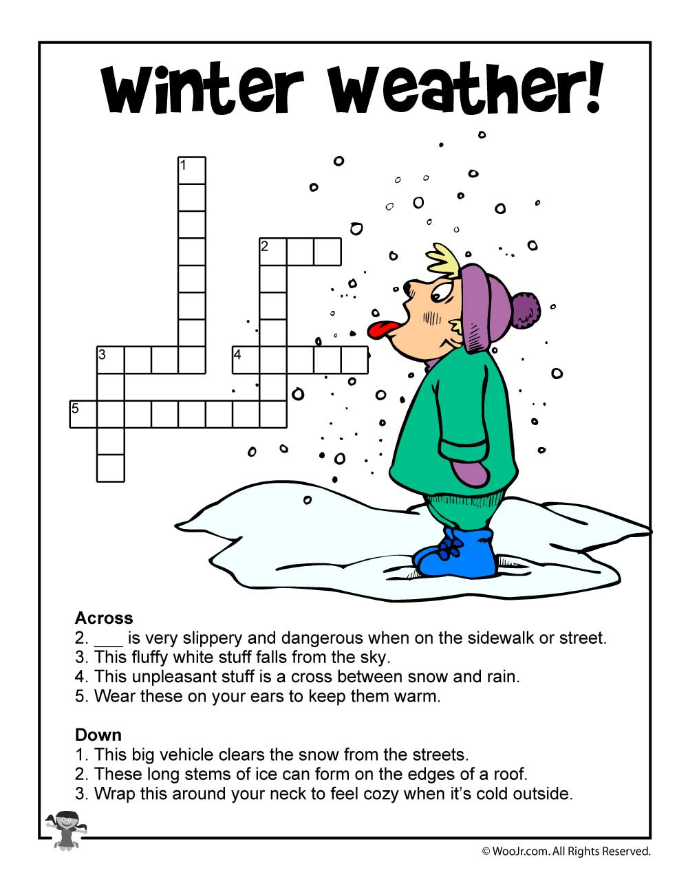 Winter Word Puzzles & Compound Words Vocabulary Worksheets | Woo! Jr - Printable Winter Crossword Puzzles