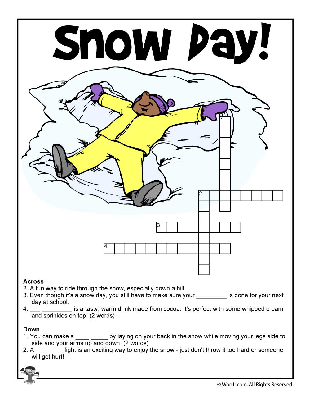 Winter Word Puzzles & Compound Words Vocabulary Worksheets   Woo! Jr - Winter Crossword Puzzle Printable