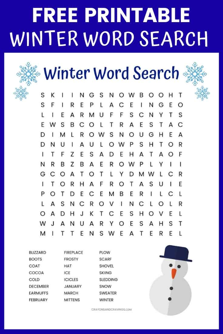 Winter Word Search Free Printable Worksheet - Printable Winter Puzzle