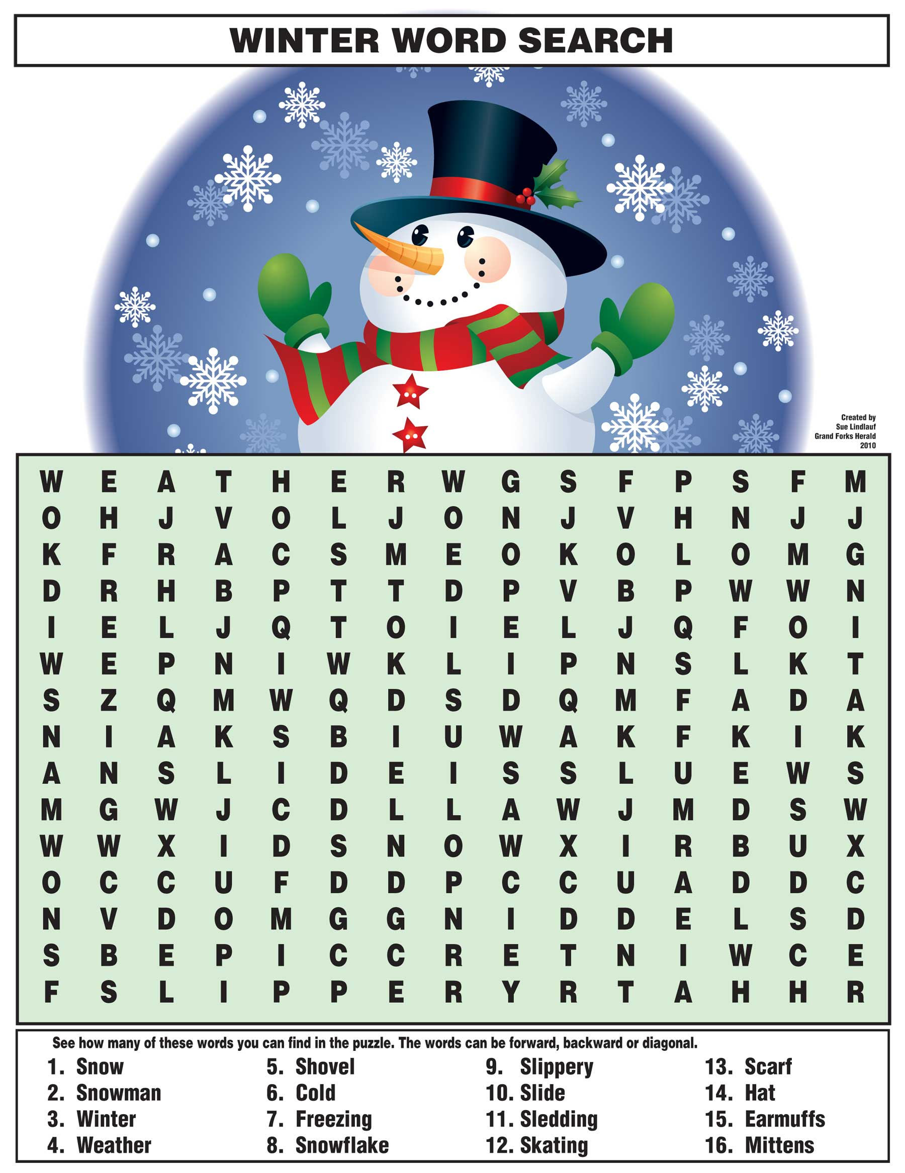 Winter Word Search   Kids Activities - Printable Snowman Puzzle