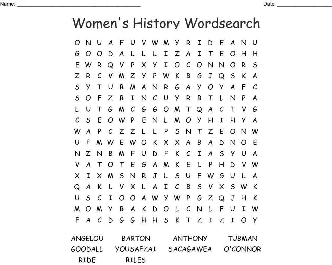 Women's History Word Search - Wordmint - Printable History Crossword