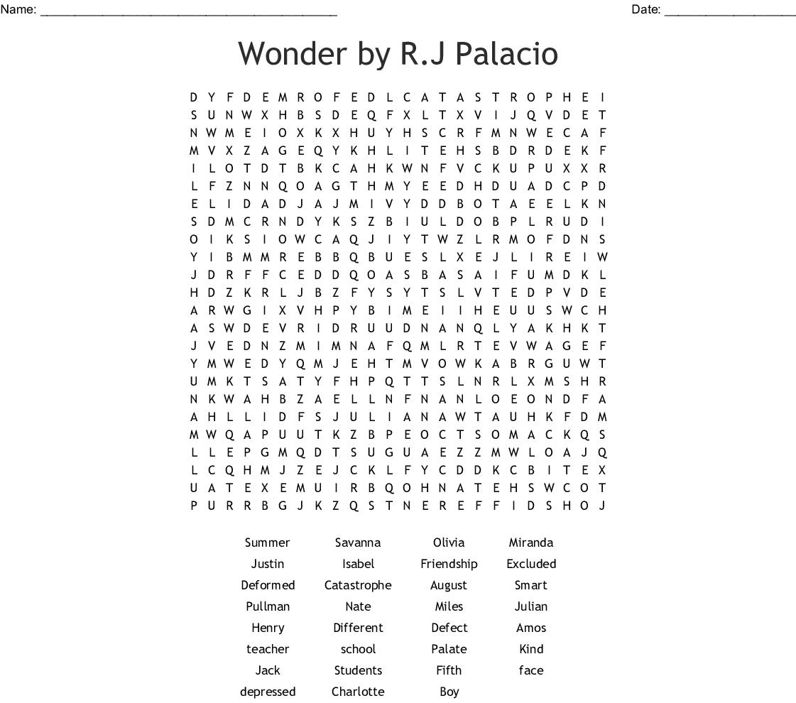 Wonderr.j Palacio Word Search - Wordmint - Printable Wonderword Puzzles