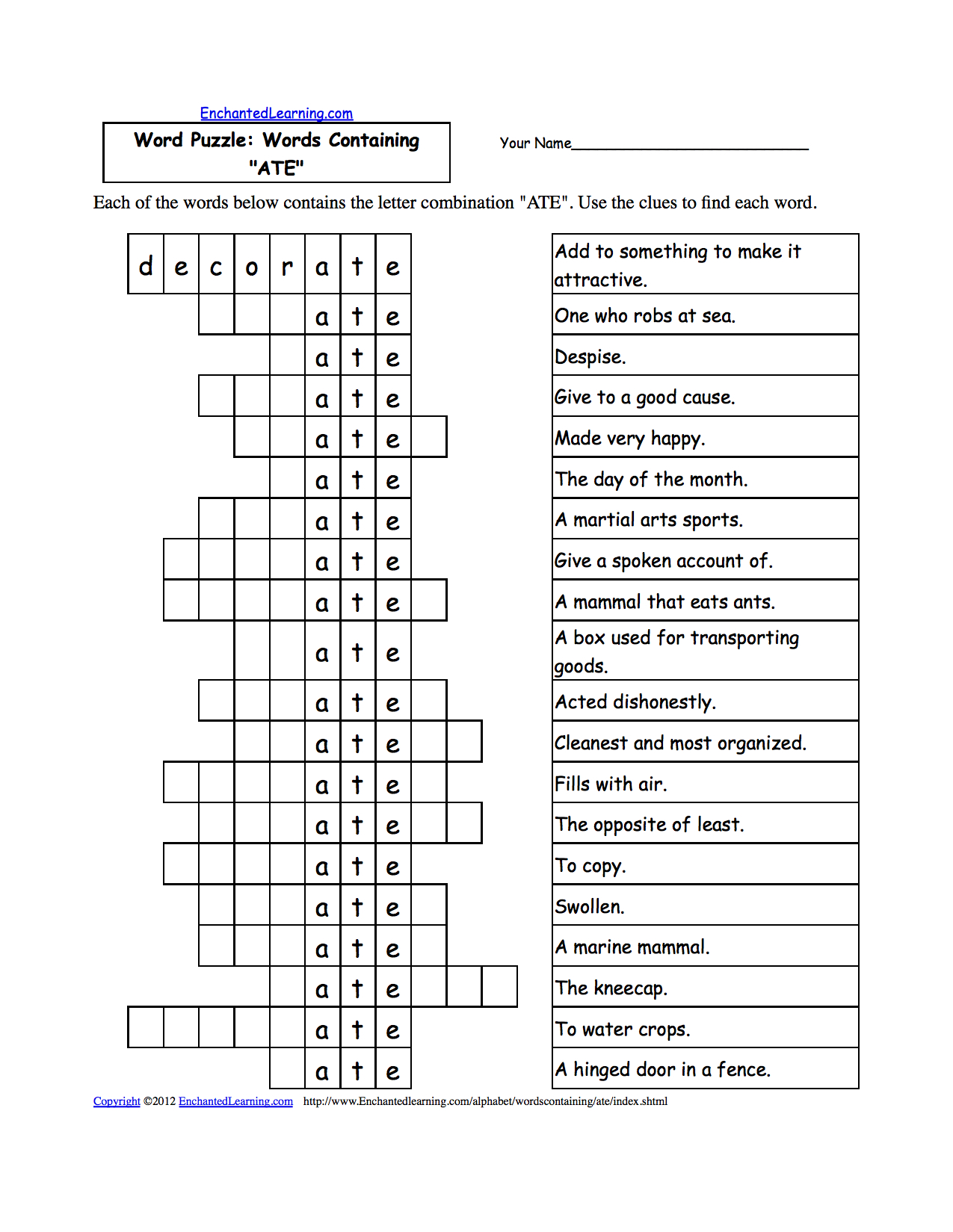 Word Puzzles: Words Containing Three-Letter Combinations: Worksheets - Printable Puzzle Worksheets